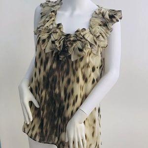 Kenneth Cole Animal Print Sleeveless Ruffle Top  M